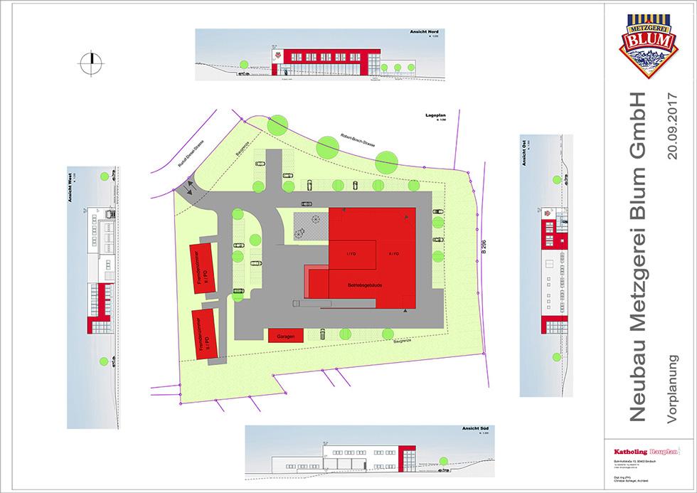 Katholing-Bauplan Plan Metzgerei Blum